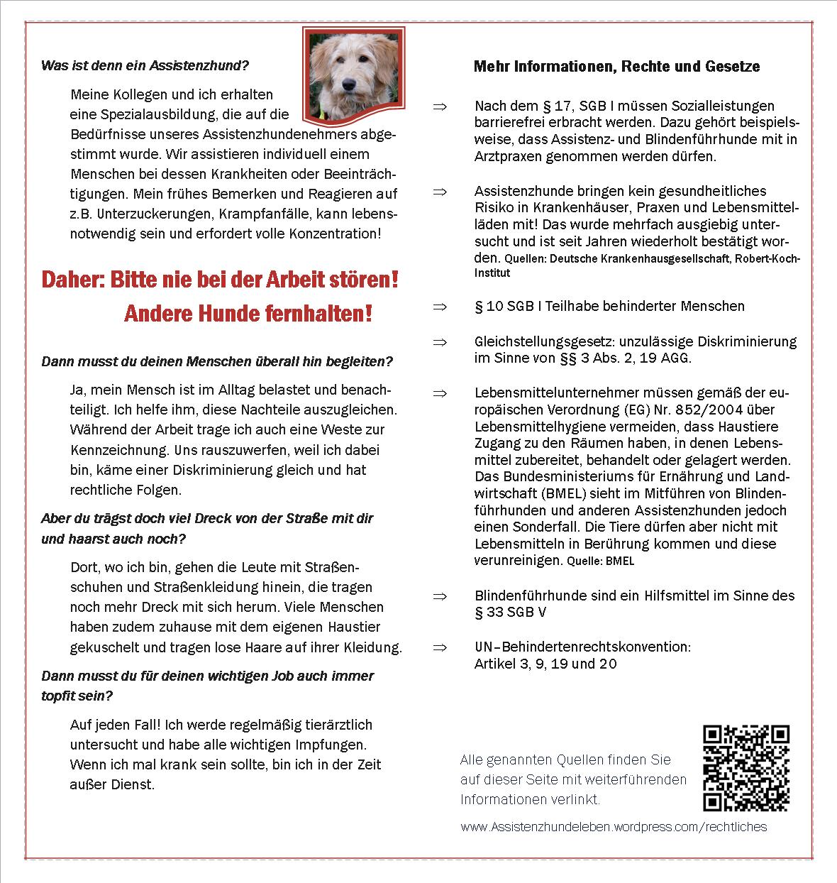 Informationsblatt über Assistenzhunde und deren Rechte