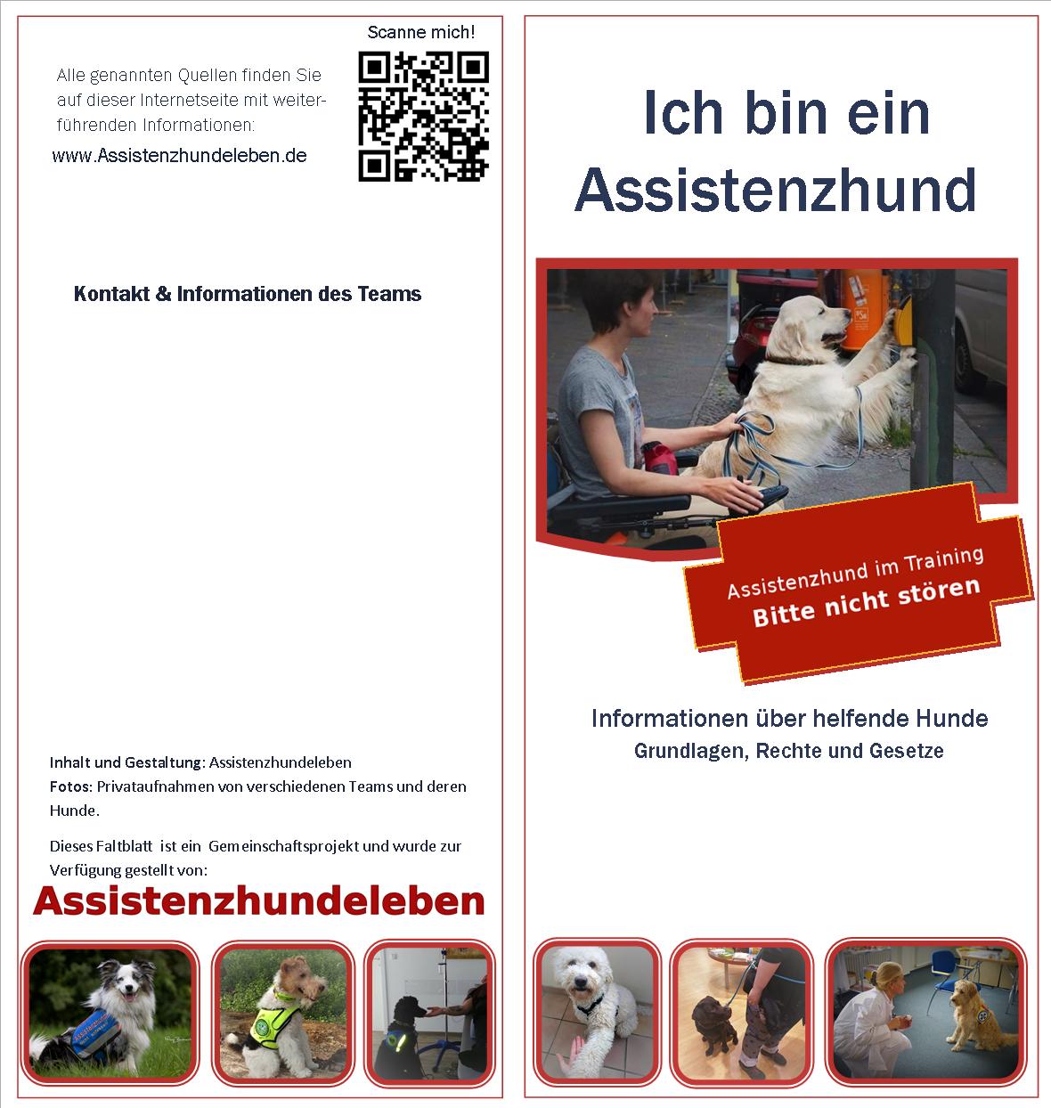 Neuer Entwurf: Infofaltblatt für Assistenzhundeteams